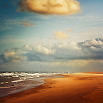 Contis-Plage, France - Empty beach in morning light<br />
