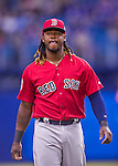 2 April 2016: Boston Red Sox infielder Hanley Ramirez awaits his turn in the batting cage prior to an exhibition game against the Toronto Blue Jays at Olympic Stadium in Montreal, Quebec, Canada. The Red Sox defeated the Blue Jays 7-4 in the second of two MLB weekend games, which saw a two-game series attendance of 106,102 at the former home on the Montreal Expos. Mandatory Credit: Ed Wolfstein Photo *** RAW (NEF) Image File Available ***