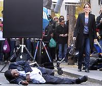 Morgan and Tina Fey shooting scenes_tv show, '30 Rock'