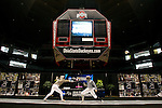 23 MAR 2012: Rebecca Ward (Right) of Duke takes on Eliza Stone of Princeton in the Saber semifinals during the Division I Women's Fencing Championship held at St. John Arena on the Ohio State University campus in Columbus, OH. Ward defeated Stone 15-5 to advance to the final round of competition. Jay LaPrete/ NCAA Photos2