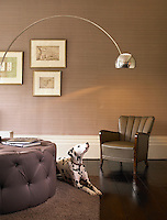 The Dalmation seems to have been incorporated into the design of the contemporary beige and brown scheme of the lounge at the Charlton Hotel in Somerset