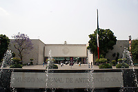 Entrance to the National Museum of Anthropology or Museo Nacional de Antropologia in Chapultepec Park, Mexico City. This building was designed by Mexican architect Ramirez Vazquez during the 1960's, and it is considered to be one of the finest museums of its kind in the world.