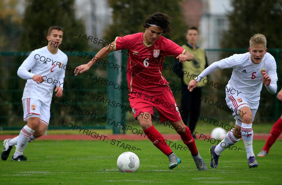 Fudbal soccer friendly match<br /> Srbija U17 v Madjarska U17<br /> Strahinja Bosnjak (C)<br /> Stara Pazova, 08.12.2015.<br /> foto: Srdjan Stevanovic/Starsportphoto &copy;