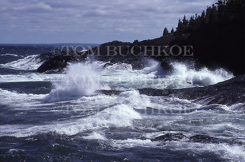 Lake Superior shoreline in the Upper Peninsula of Michigan. Presque Isle Park in Marquette.