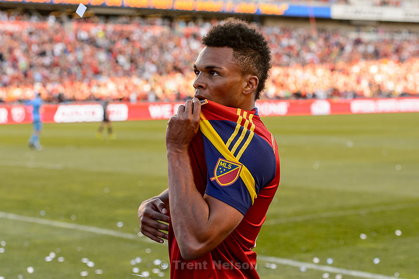 Trent Nelson  |  The Salt Lake Tribune<br /> Real Salt Lake defender/midfielder Jordan Allen (7) celebrates his game-winning goal as Real Salt Lake hosts Toronto FC at Rio Tinto Stadium in Sandy, Sunday March 29, 2015.