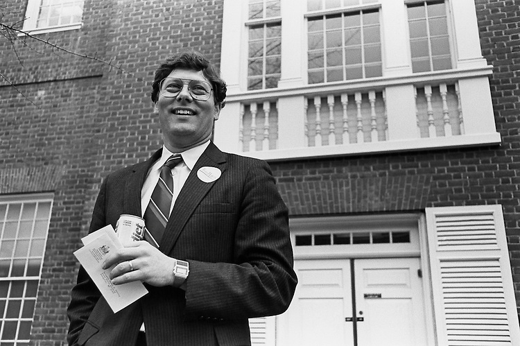Thomas Hattery, D-Md., in front of House of Delegates building in Annapolis. March 4, 1992 (Photo by Laura Patterson/CQ Roll Call)