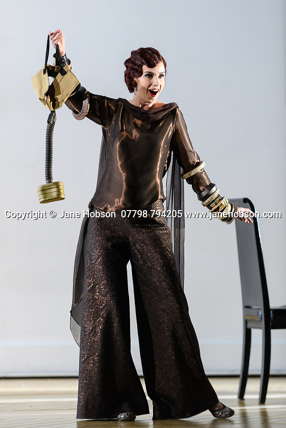 "English National Opera presents Christopher Alden's production of ""Partenope"", by George Frederic Handel, at the London Coliseum.  Picture shows: Sarah Tynan (Partenope)"