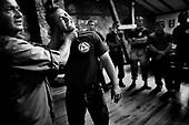 Wlosciejewki 25.07.2009 Poland<br /> Controversial practice of martial arts BAS3, invented by Andrzej Bryl.Living legend Andrzej Bryl shows how to strangle and liquidate enemy.<br /> Training of the elite security service by European Security Academy ( its founder is living legend Andrzej Bryl ) and Israeli security forces Shin Bet in E.S.A seat in Wlosciejewki ( Poland ). This is the first course for international elite bodyguards, who will protect VIP's and promoters on the FIFA World Cup in RPA 2010 and UEFA European Cup in Poland and Ukraine 2012.<br /> Photo: Adam Lach / Napo Images<br /> <br /> Kontrowersyjne cwiczenia ze sztuki walk BAS3, wymyslonej przez Andrzeja Bryla. Zyjaca Legenda Andrzej Bryl pokazuje jak dusic i zlikwidowac przeciwnika.<br /> Szkolenie elitarnych sluzb ochroniarzy przez Euopean Security Academy ( jej zalozycielem jest zyjaca legenda dr. Andrzej Bryl ) i izraelskie sluzby bezpieczenstwa Shin Bet. To pierwsze szkolenia dla miedzynarodowych elitarnych ochroniarz, ktorzy beda zabezpieczac VIP'ow i organizatorow podczas Mistrzostw Swiata w pilce noznej RPA 2010 i w trakcie Mistrzostw Europy w Polsce i na Ukrainie w 2012.<br /> Fot: Adam Lach / Napo Images