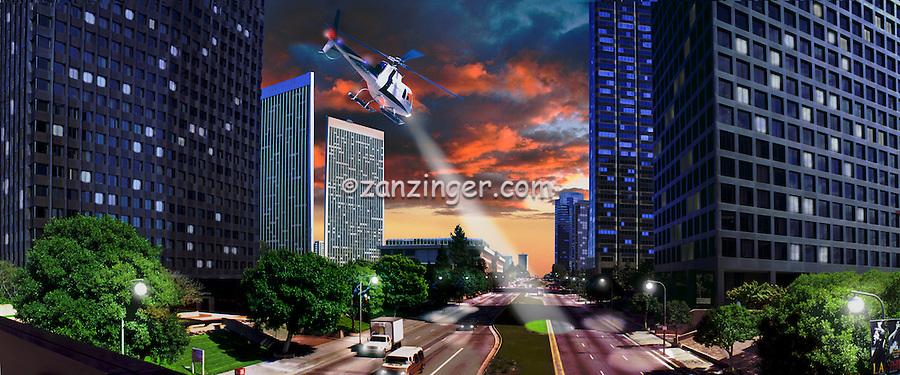 Los Angeles Century City, Panorama CGI Backgrounds, ,Beautiful Background