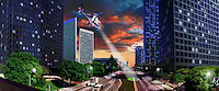 Los Angeles Century City, Panorama CGI Backgrounds, ,Beautiful Background