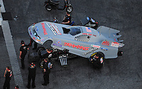 Jan. 20, 2012; Jupiter, FL, USA: Aerial view of NHRA funny car driver Courtney Force during testing at the PRO Winter Warmup at Palm Beach International Raceway. Mandatory Credit: Mark J. Rebilas-