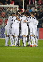 13 April 2011: Los Angeles Galaxy team huddle during an MLS game between Los Angeles Galaxy and the Toronto FC at BMO Field in Toronto, Ontario Canada..The game ended in a 0-0 draw.