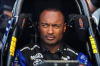 May 4, 2012; Commerce, GA, USA: NHRA top fuel dragster driver Antron Brown during qualifying for the Southern Nationals at Atlanta Dragway. Mandatory Credit: Mark J. Rebilas-