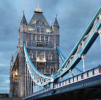 Tower Bridge, 1886-94, by architect Sir Horace Jones, 1819-87, and engineer Sir John Wolfe Barry, 1836-1918, River Thames, London, UK. This bascule bridge has become a symbol of London. Picture by Manuel Cohen