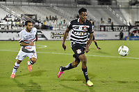 Orlando, FL - Saturday Jan. 21, 2017:  Corinthians left back Moisés (6) shields the ball from São Paulo forward W. Nem (21) during the first half of the Florida Cup Championship match between São Paulo and Corinthians at Bright House Networks Stadium.