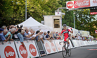 winner Greg Van Avermaet (BEL/BMC) crosses the finish line<br /> <br /> Grand Prix de Wallonie 2014