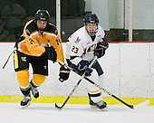 Nick Sandor (AIC - 21), Dustin Cloutier (Bentley - 23) - The visiting American International College Yellow Jackets defeated the Bentley University Falcons 5-1 on Saturday, February 12, 2011, at John A. Ryan Skating Arena in Watertown, Massachusetts.