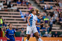 Seattle, WA - Sunday, May 21, 2017: Kristen McNabb and Toni Pressley during a regular season National Women's Soccer League (NWSL) match between the Seattle Reign FC and the Orlando Pride at Memorial Stadium.