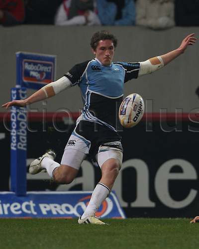 01.12.2012 Limerick, Ireland. Henry Pyrgos, in action for Glasgow, during the RaboDirect PRO12 game between Munster and Glasgow Warriors from Thomond Park.