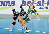 Carmen B. Martin of Krim vs Ivett Szepesi of Gyori  during handball match between RK Krim Mercator and Gyori Audi ETO KC (HUN) in 3rd Round of Group B of EHF Women's Champions League 2012/13 on October 28, 2012 in Arena Stozice, Ljubljana, Slovenia. Gyori defeated Krim Mercator 31-20. (Photo By Vid Ponikvar / Sportida)