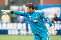 San Francisco, California - Saturday March 17, 2012: Tally Hall commands his teammate during the MLS match at AT&T Park. Houston Dynamo defeated San Jose Earthquakes  1-0