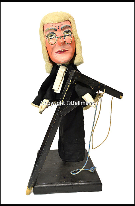 BNPS.co.uk (01202 558833)<br /> Pic: Bellmans/BNPS<br /> <br /> Hanging Judge.<br /> <br /> Beats Blackpool - Punch&amp;Judy puppets that graced Cannes on the Cote d'Azur in the 1960's for sale.<br /> <br /> A collection of vintage puppets made for a French Punch and Judy puppeteer over 50 years ago have emerged for sale.<br /> <br /> The 10 papier mache pieces include wife-beating Mr Punch, his long-suffering partner, the crocodile, the policeman and the judge.<br /> <br /> The collection is also made up of five lesser-known characters that feature in the seaside show.<br /> <br /> These are the Chinaman, the black man, the pirate, the chauffeur and the skeleton.