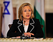 "United States Secretary of State Hillary Rodham Clinton makes remarks as she hosts the ""Relaunch of Direct Negotiations Between the Israelis and Palestinians"" in the Benjamin Franklin Room of the U.S. Department of State on Thursday, September 2, 2010.  .Credit: Ron Sachs / CNP.(RESTRICTION: NO New York or New Jersey Newspapers or newspapers within a 75 mile radius of New York City)"
