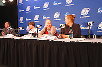 STANFORD-March 23, 2013: Tara VanDerveer, Mikaela Ruef and Joslyn Tinkle during the NCAA press conference Saturday Morning on the day before the first round of the NCAA Division 1 Women's Basketball Championship is played at Maples Pavilion.