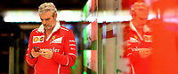 March 26, 2017: Maurizio Arrivabene team boss of the Scuderia Ferrari team looks at his phone in the pits at the 2017 Australian Formula One Grand Prix at Albert Park, Melbourne, Australia. Photo Sydney Low