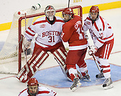 Kieran Millan (BU - 31), Carter Camper (Miami - 11), Nick Bonino (BU - 13) - The Boston University Terriers defeated the Miami University RedHawks 4-3 in overtime to win the 2009 NCAA D1 National Championship at the Frozen Four on Saturday, April 11, 2009, at the Verizon Center in Washington, DC.