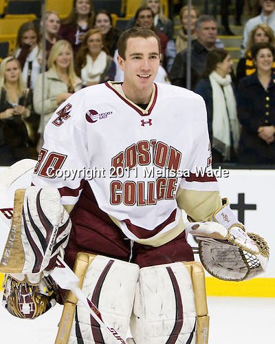 Chris Venti (BC - 30) - The Boston College Eagles defeated the Northeastern University Huskies 7-6 in overtime to win the 2011 Beanpot Championship on Monday, February 14, 2011, at TD Garden in Boston, Massachusetts.