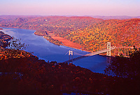 Bear Mountain Bridge across the Hudson, with fall colors, Bear Mountain State Park, Hudson Highlands, New York