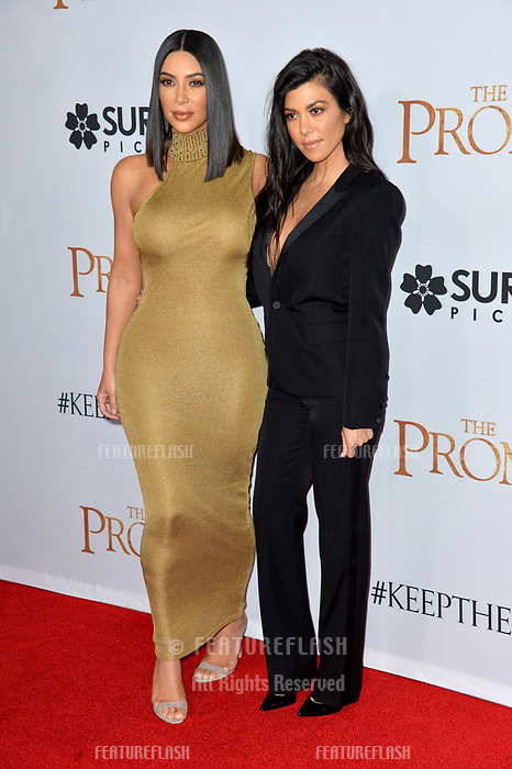 Kim Kardashian &amp; Kourtney Kardashian at the premiere for &quot;The Promise&quot; at the TCL Chinese Theatre, Hollywood. Los Angeles, USA 12 April  2017<br /> Picture: Paul Smith/Featureflash/SilverHub 0208 004 5359 sales@silverhubmedia.com