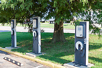 Blink EV charging stations sit idle waiting for the next electric vehicles to be charged at Casey Jones Village in Jackson, Tennessee.