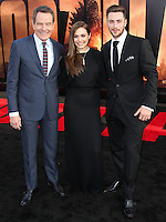 """HOLLYWOOD, LOS ANGELES, CA, USA - MAY 08: Bryan Cranston, Elizabeth Olsen, Aaron Taylor-Johnson at the Los Angeles Premiere Of Warner Bros. Pictures And Legendary Pictures' """"Godzilla"""" held at Dolby Theatre on May 8, 2014 in Hollywood, Los Angeles, California, United States. (Photo by Xavier Collin/Celebrity Monitor)"""