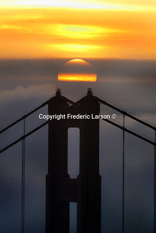 The city was socked in during the early morning hours as the sunrise looking from the Marin Headlands finally busted through the fog that warmed up the Bay Area to spring like tempertures.
