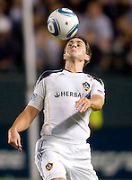 LA Galaxy defender Todd Dunivant (2) keeps his eyes on the ball. The LA Galaxy and the San Jose Earthquakes played to a 2-2 draw at Home Depot Center stadium in Carson, California on Thursday July 22, 2010.