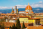 The Dome &amp; Bell Tower over the roof tops - Florence Italy.