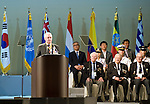 British Korean War veteran Col. George Gadd, president of the International Federation of Korean War Veterans Associations, gives a speech at the official commemoration ceremony to mark the 60th anniversary  of the start of the Korean War in Seoul, South Korea on 25 June 2010..Photographer: Rob Gilhooly