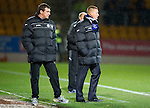 St Johnstone v Hibernian...26.11.11   SPL .Steve Lomas and assistant Tommy Wright.Picture by Graeme Hart..Copyright Perthshire Picture Agency.Tel: 01738 623350  Mobile: 07990 594431