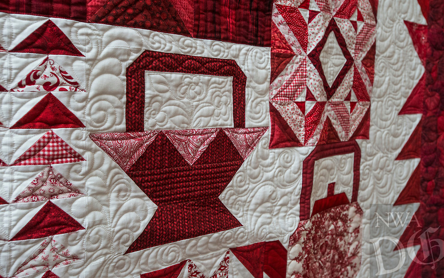 NWA Democrat-Gazette/ANTHONY REYES @NWATONYR<br /> Quilted flowers coming out of the basket on the &quot;Farm Girl Goes Red and White&quot; quilt Monday, April 3, 2017 at the Shiloh Museum in Springdale.