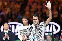 January 29, 2017: Roger Federer of Switzerland waves to the crowd after winning the Men's Final against Rafael Nadal of Spain on day 14 of the 2017 Australian Open Grand Slam tennis tournament in Melbourne, Australia. Photo Sydney Low