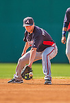 11 March 2013: Atlanta Braves infielder Tyler Pastornicky warms up prior to a Spring Training game against the Washington Nationals at Space Coast Stadium in Viera, Florida. The Braves defeated the Nationals 7-2 in Grapefruit League play. Mandatory Credit: Ed Wolfstein Photo *** RAW (NEF) Image File Available ***