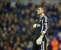 WEST BROMWICH, ENGLAND - Wednesday, September 26, 2012: West Bromwich Albion's goalkeeper Ben Foster looks dejected during the Football League Cup 3rd Round match against Liverpool at the Hawthorns. (Pic by David Rawcliffe/Propaganda)