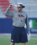 Ole Miss head coach Houston Nutt watches during a team scrimmage at Vaught-Hemingway Stadium in Oxford, Miss. on Saturday, August 20, 2011.