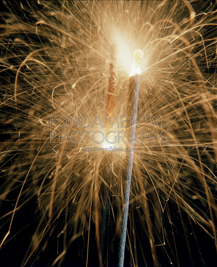 SPARKLERS - SLOW BURNING FIREWORKS<br /> An Exothermic Reaction<br /> Most fireworks are made of potassium chlorate to supply oxygen, flammables like starch sugar or petroleum derivatives to combine with the oxygen to produce heat and light &amp; metal compounds for color.