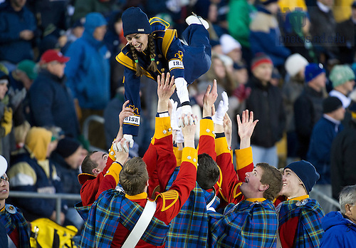 Nov. 3, 2012; Irish Guards celebrate with a marching band member after Notre Dame scored a touchdown during the second half against Pittsburgh. Photo by Barbara Johnston/University of Notre Dame
