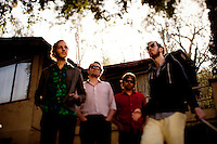 Los Angeles, Calif., April 26, 2009 - From left, Matt Popieluch,  Lewis Nicolas Pesacov, Garrett Ray and Ariel Rechtshaid of the band Foreign Born in front of an abandoned home in Elysian Park in Los Angeles.