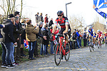 Daniel Oss (ITA) BMC Racing Team climbs Oude Kwaremont during the 60th edition of the Record Bank E3 Harelbeke 2017, Flanders, Belgium. 24th March 2017.<br /> Picture: Eoin Clarke   Cyclefile<br /> <br /> <br /> All photos usage must carry mandatory copyright credit (&copy; Cyclefile   Eoin Clarke)