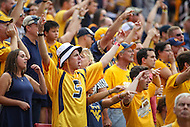 Landover, MD - September 23, 2016: West Virginia Mountaineers cheering during game between BYU and WVA at  FedEx Field in Landover, MD.  (Photo by Elliott Brown/Media Images International)